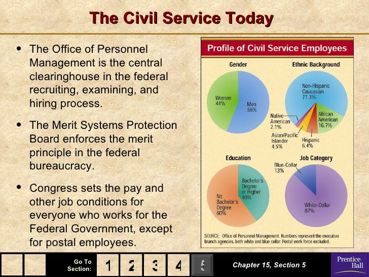 The Civil Service Today•   The Office of Personnel    Management is the central    clearinghouse in the federal    recruit...
