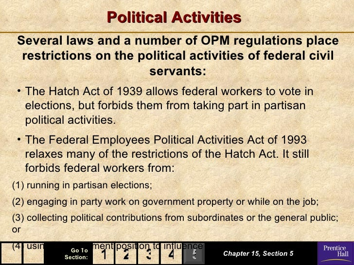Political Activities Several laws and a number of OPM regulations place  restrictions on the political activities of feder...