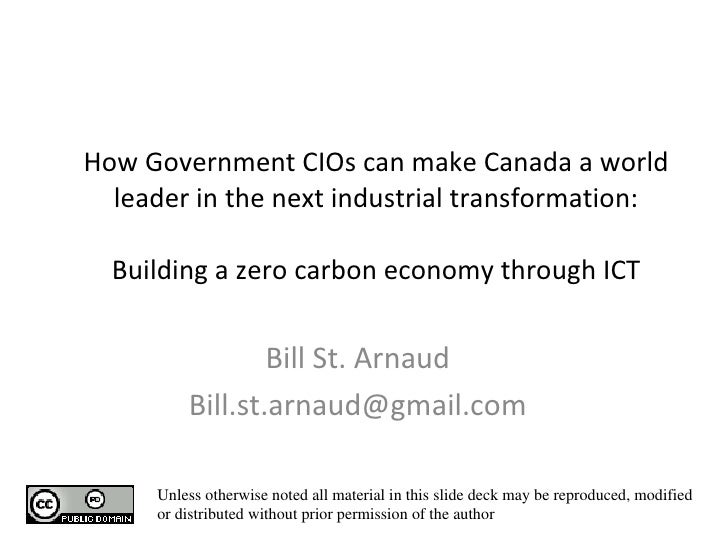 How Government CIOs can make Canada a world leader in the next industrial transformation: Building a zero carbon economy t...