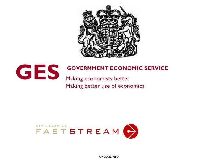 GOVERNMENT ECONOMIC SERVICE Making economists better Making better use of economics GES UNCLASSIFIED
