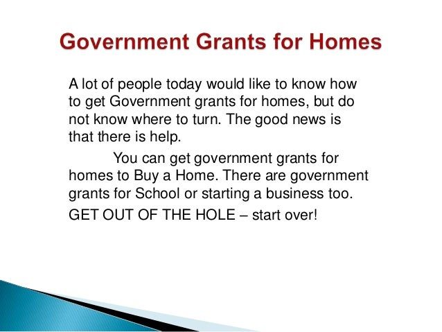 Government Grants For Homes