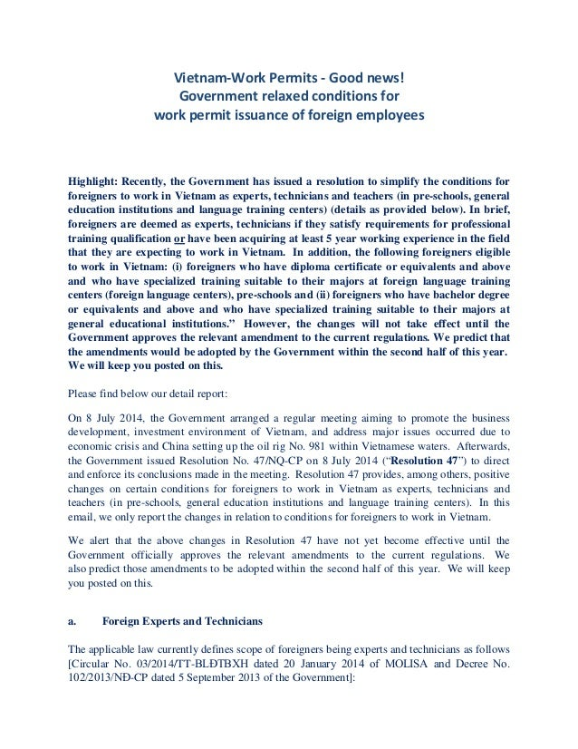 Vietnam _Government Relaxed Conditions for Work Permit ...