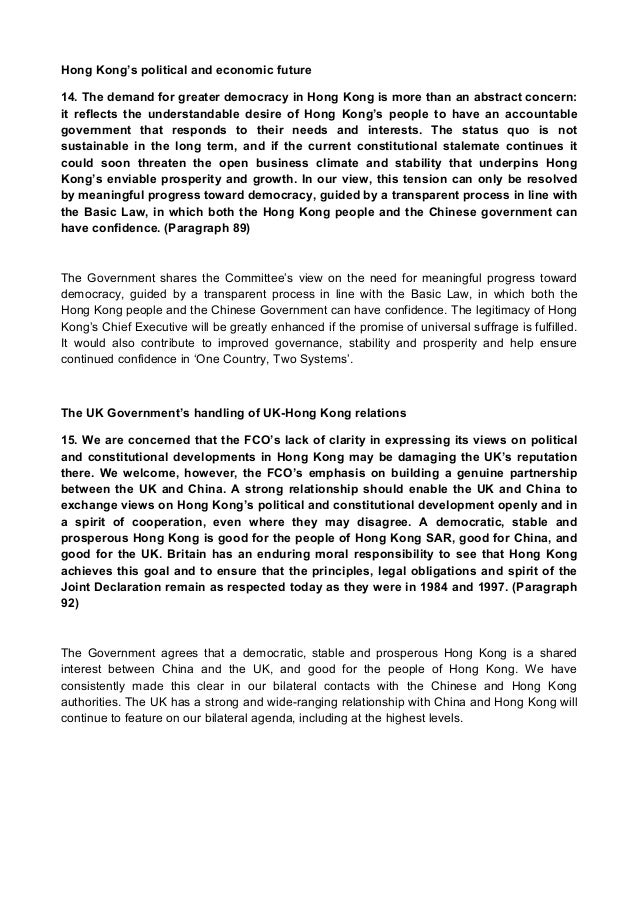 Response of Hong Kong government to the housing problems