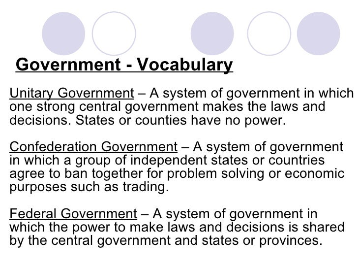 government vocabulary 2 recognition of differences most often refers to treating people differently based  on their race, religion, or sex 5 way of ensuring that laws or rules are obeyed.