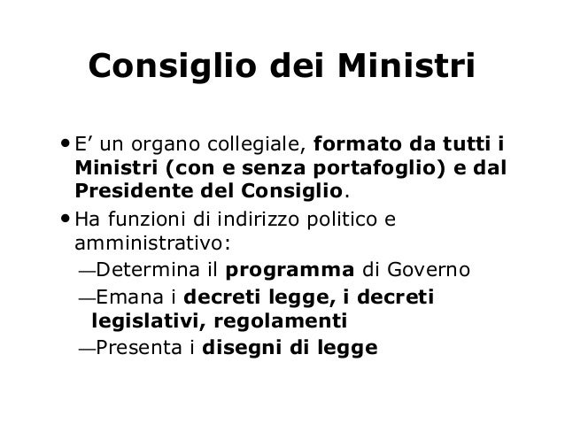 Governo for Schema parlamento italiano