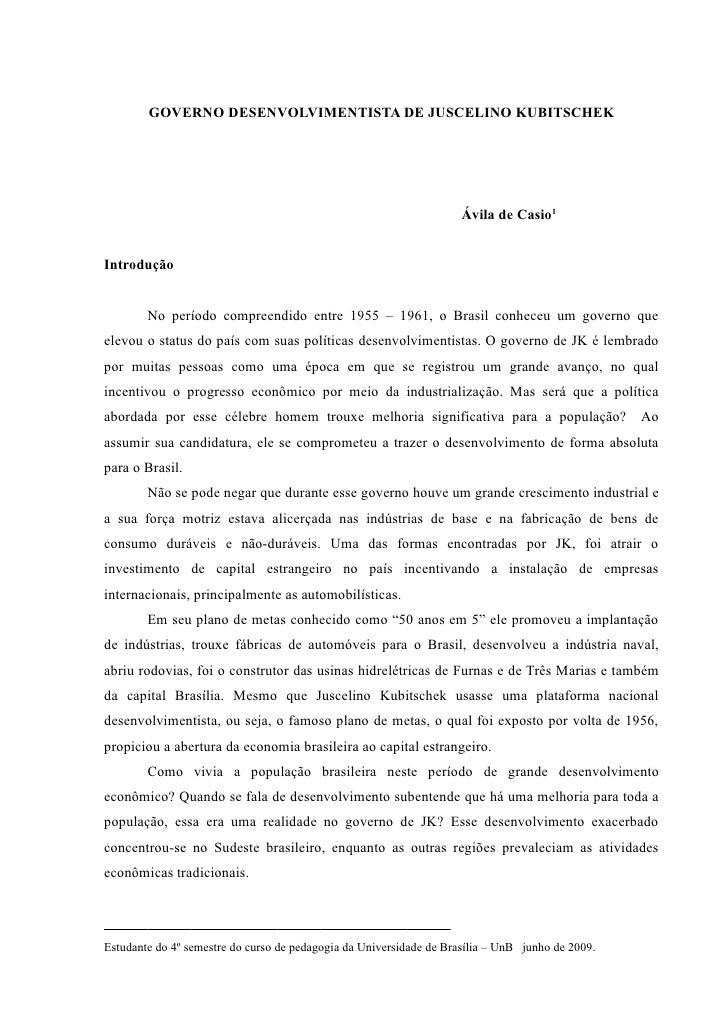 GOVERNO DESENVOLVIMENTISTA DE JUSCELINO KUBITSCHEK                                                                        ...