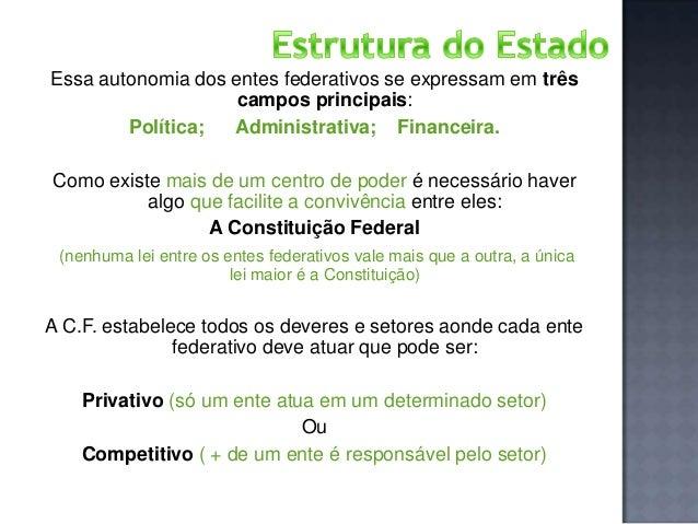 Essa autonomia dos entes federativos se expressam em três campos principais: Política; Administrativa; Financeira. Como ex...