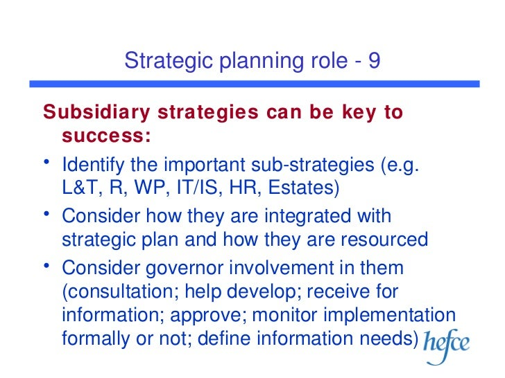 role of strategic management in planning The strategic value of values  one of the major areas explored was the difference in the existence and role of a core  recognizing values in strategic planning.