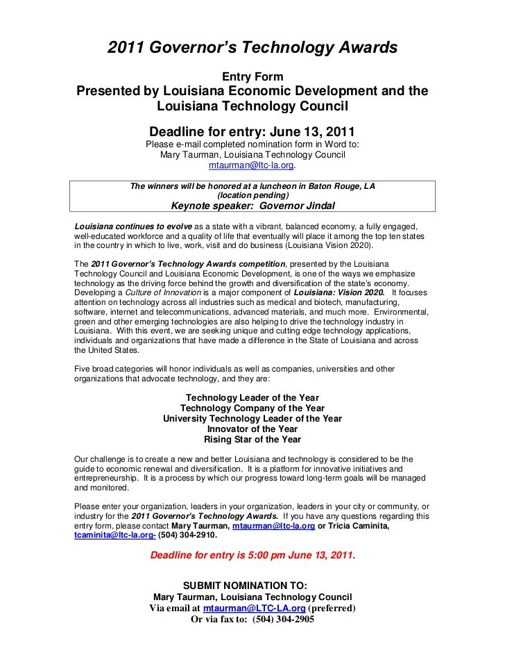 2011 Governor's Technology Awards<br />Entry Form<br />Presented by Louisiana Economic Development and the Louisiana Techn...