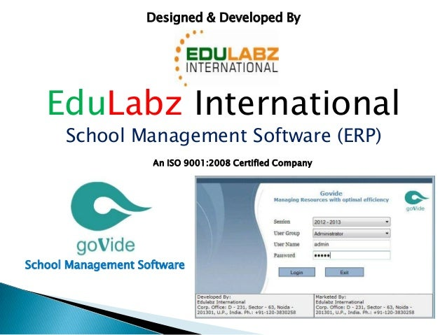 EduLabz International School Management Software (ERP) Designed & Developed By An ISO 9001:2008 Certified Company School M...