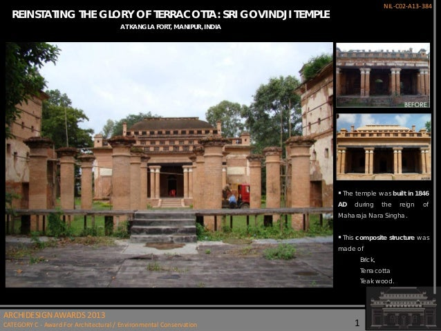 NIL-C02-A13-384  REINSTATING THE GLORY OF TERRACOTTA: SRI GOVINDJI TEMPLE AT KANGLA FORT, MANIPUR, INDIA   The temple was...