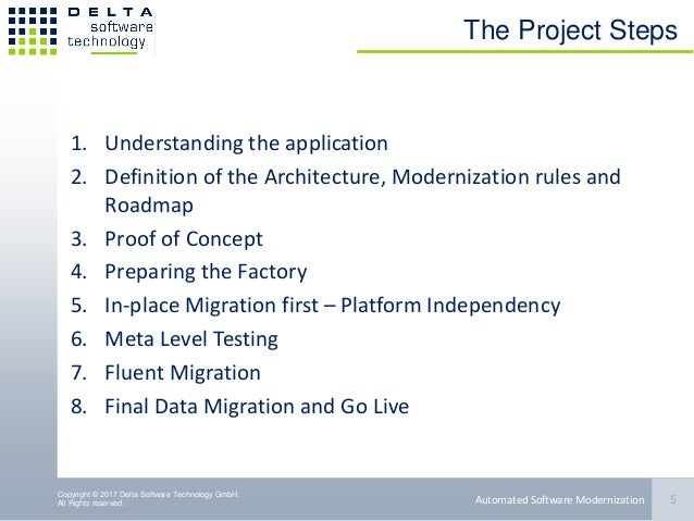 Copyright © 2017 Delta Software Technology GmbH. All Rights reserved. The Project Steps 1. Understanding the application 2...