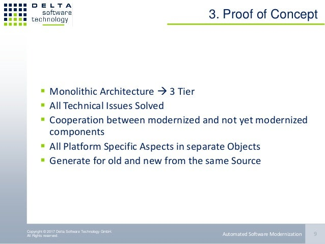 Copyright © 2017 Delta Software Technology GmbH. All Rights reserved. 3. Proof of Concept  Monolithic Architecture  3 Ti...