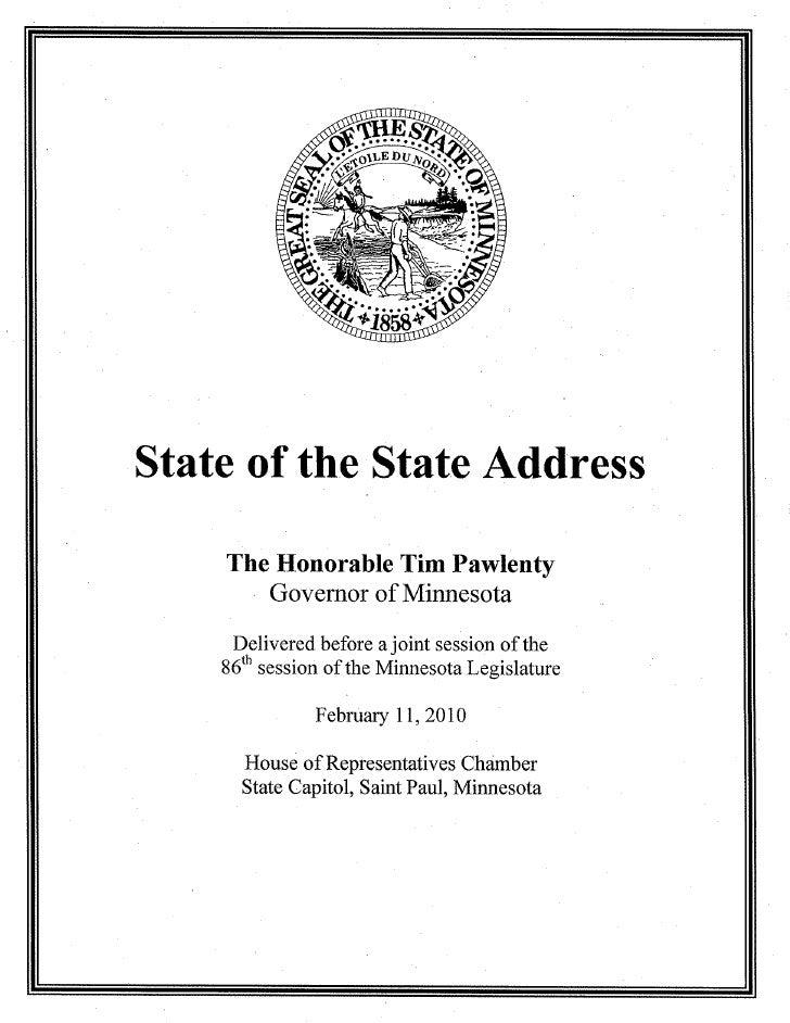 Gov Pawlenty State Of The State Address February 11 2010