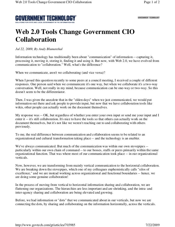 Web 2.0 Tools Change Government CIO Collaboration                                              Page 1 of 2Web 2.0 Tools Ch...