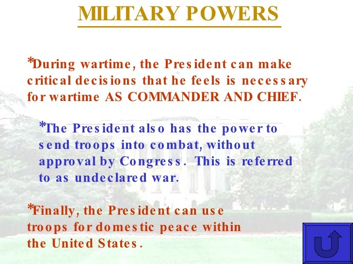 an overview of the powers of the presidency in the united states Under the constitution, the president of the united states determines us foreign policy the secretary of state, appointed by the president with the advice and consent of the senate, is the president's chief foreign affairs adviser the secretary carries out the president's foreign policies .