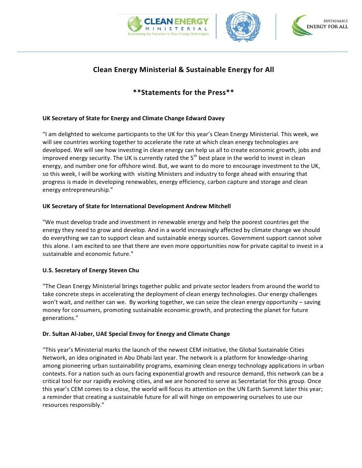 Clean Energy Ministerial & Sustainable Energy for All                                   **Statements for the Press**UK Sec...