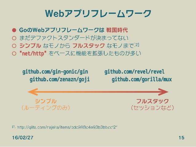 """Webアプリフレームワーク ● GoのWebアプリフレームワークは 戦国時代 ○ まだデファクトスタンダードが決まってない ○ シンプル なモノから フルスタック なモノまで[2] ○ """"net/http"""" をベースに機能を拡張したもの..."""