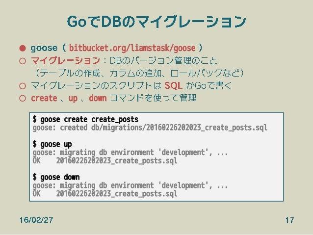 GoでDBのマイグレーション ● goose( bitbucket.org/liamstask/goose ) ○ マイグレーション:DBのバージョン管理のこと (テーブルの作成、カラムの追加、ロールバックなど) ○ マイグレーションのス...
