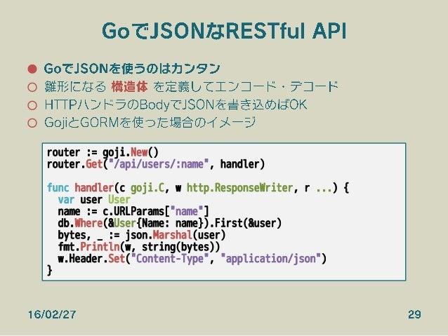 GoでJSONなRESTful API ● GoでJSONを使うのはカンタン ○ 雛形になる 構造体 を定義してエンコード・デコード ○ HTTPハンドラのBodyでJSONを書き込めばOK ○ GojiとGORMを使った場合のイメージ...