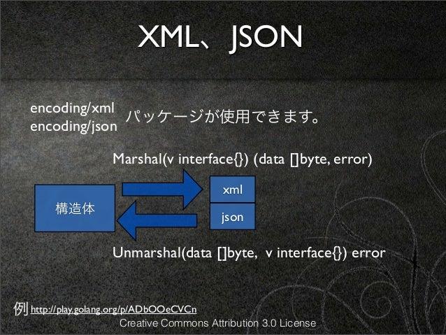 XML、JSON   encoding/xml                 パッケージが使用できます。   encoding/json                    Marshal(v interface{}) (data []by...