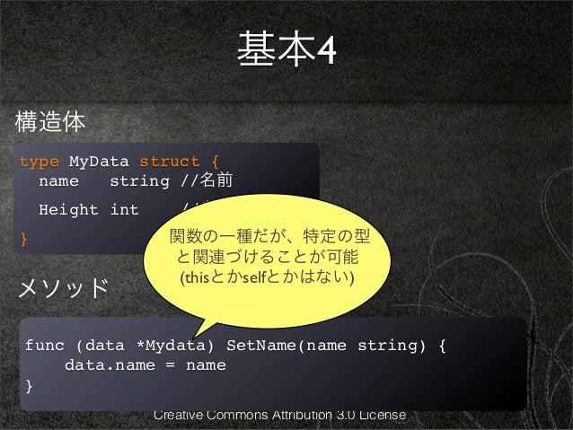 基本4構造体type MyData struct {  name   string //名前    Height int       //身長}                  関数の一種だが、特定の型                   と...