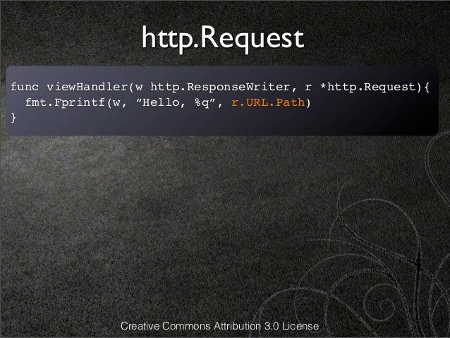 "http.Requestfunc viewHandler(w http.ResponseWriter, r *http.Request){  fmt.Fprintf(w, ""Hello, %q"", r.URL.Path)}           ..."