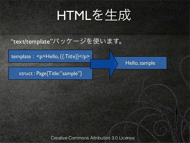 """HTMLを生成""""text/template""""パッケージを使います。template : <p>Hello, {{.Title}}</p>                                                    He..."""
