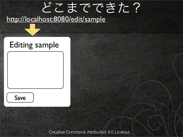 どこまでできた?http://localhost:8080/edit/sample Editing sample  Save              Creative Commons Attribution 3.0 License