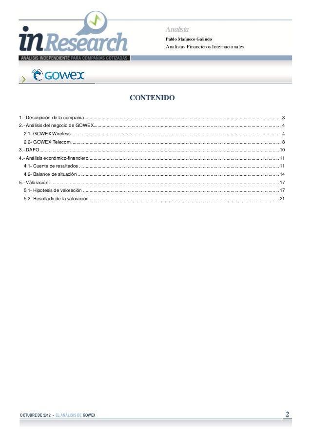 GOWEX Análisis de Cobertura de AFI / Oct 2012 Slide 2