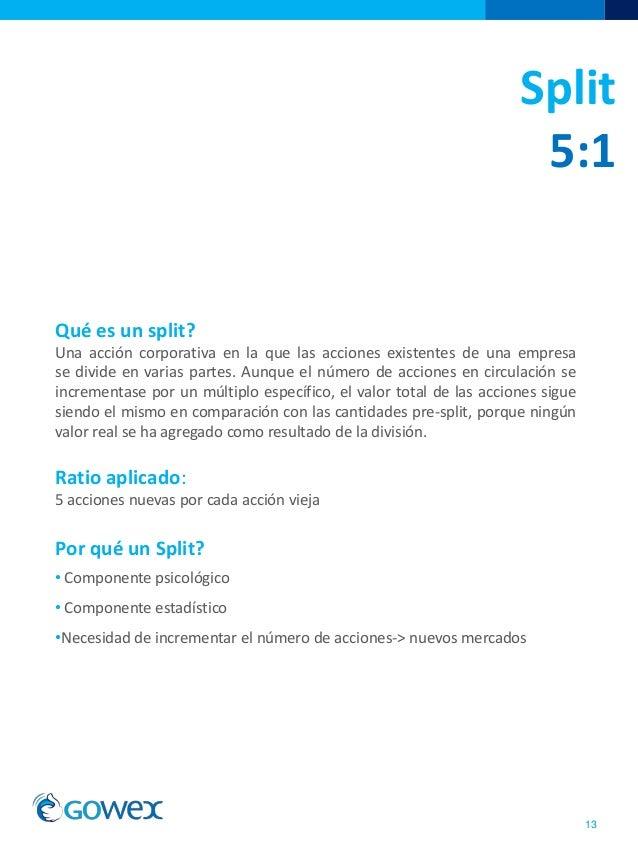 Split5:113Qué es un split?Una acción corporativa en la que las acciones existentes de una empresase divide en varias par...