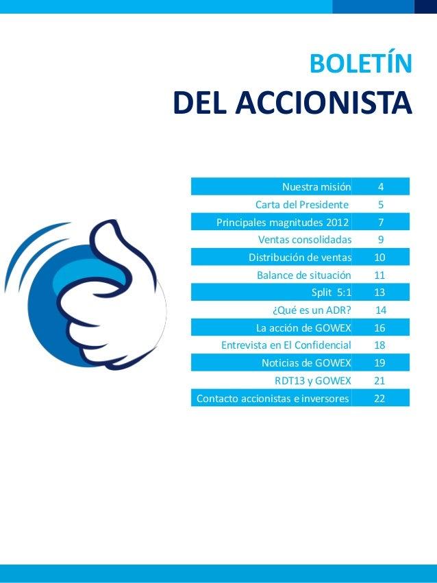 BOLETÍNDEL ACCIONISTANuestra misión 4Carta del Presidente 5Principales magnitudes 2012 7Ventas consolidadas 9Distribución ...
