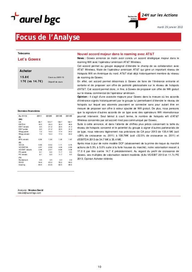 mardi 29 janvier 2013Focus de l'AnalyseTelecoms                                                 Nouvel accord majeur dans ...
