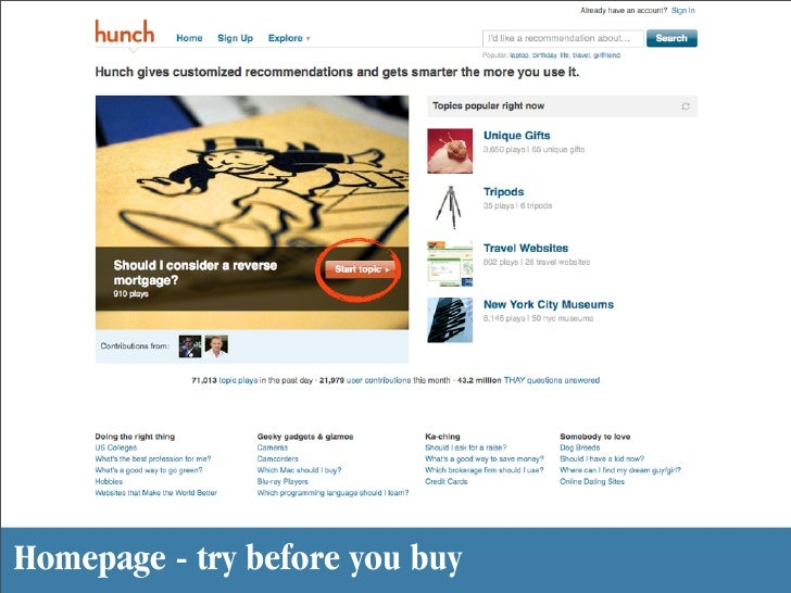 Homepage - try before you buy