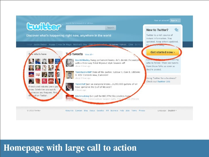 Homepage with large call to action
