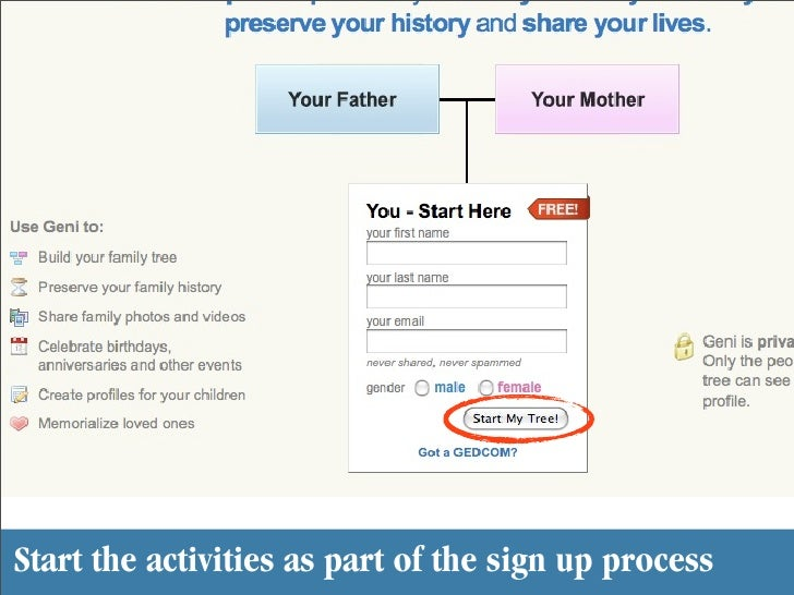 Start the activities as part of the sign up process