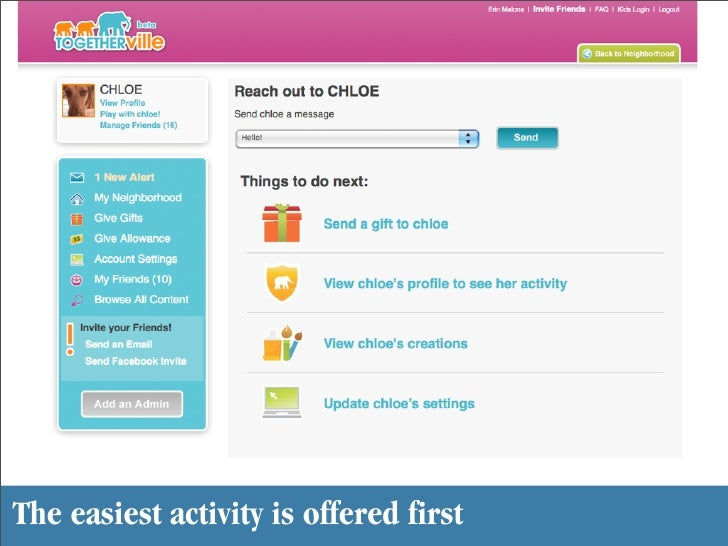 The easiest activity is offered first