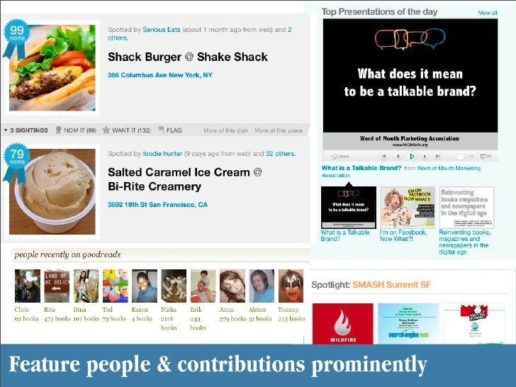 Feature people & contributions prominently