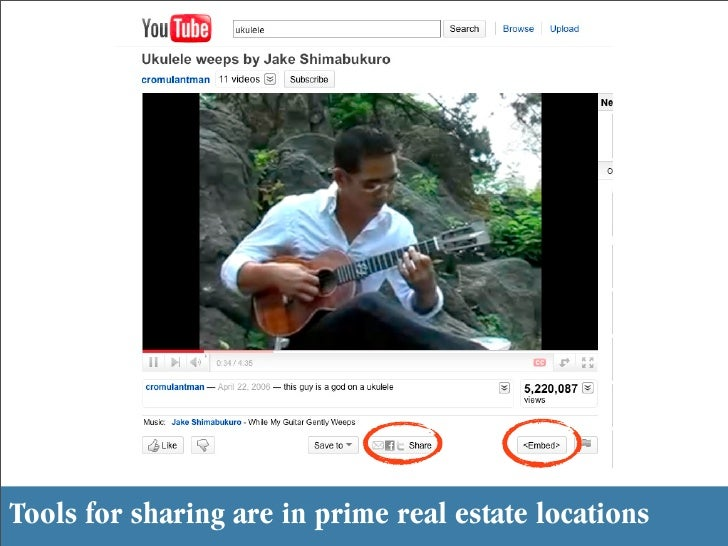 Tools for sharing are in prime real estate locations