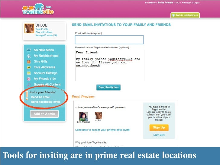 Enter text here Tools for inviting are in prime real estate locations