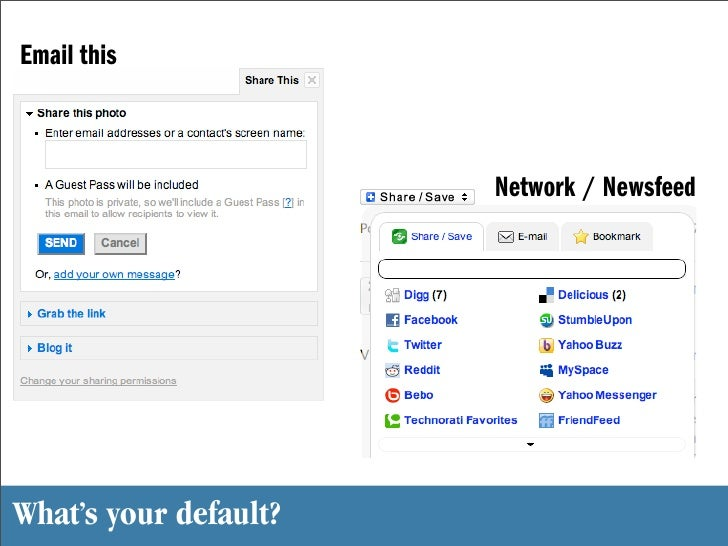 Email this                           Network / Newsfeed     What's your default?