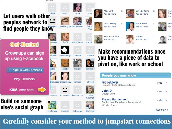 Let users walk other  peoples network to   nd people they know                                   Make recommendations once...