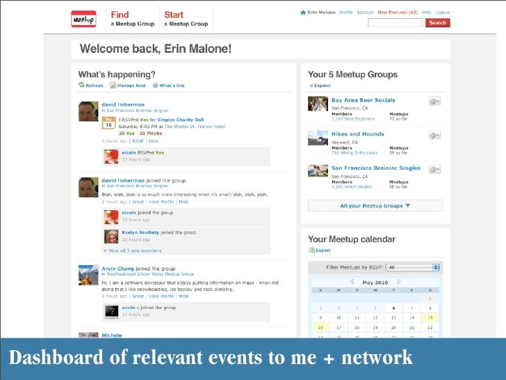 Dashboard of relevant events to me + network