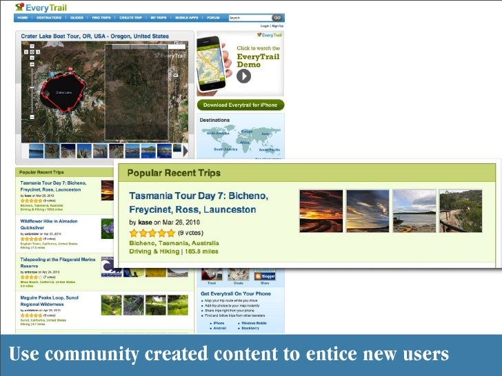 Use community created content to entice new users