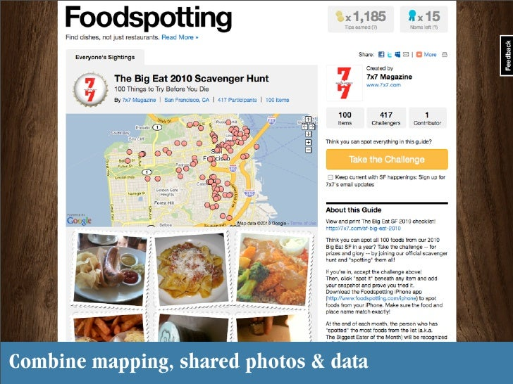 Combine mapping, shared photos & data