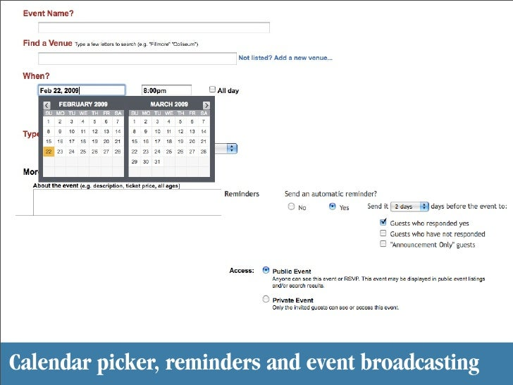 Calendar picker, reminders and event broadcasting