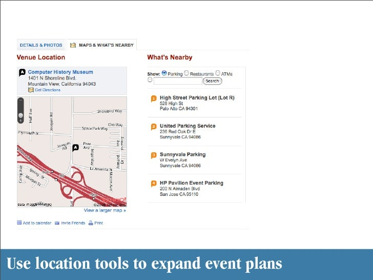 Use location tools to expand event plans
