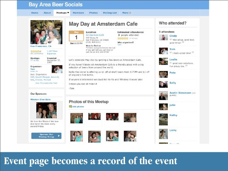 Event page becomes a record of the event