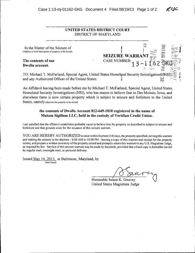 Mt Gox USDHS Dwolla account seizure warrant (executed)
