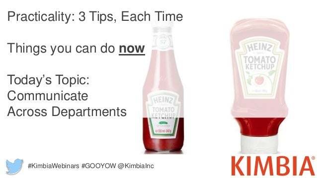 Practicality: 3 Tips, Each Time Things you can do now Today's Topic: Communicate Across Departments #KimbiaWebinars #GOOYO...
